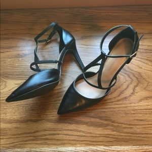 Black Christian Siriano Strappy Ankle Heels